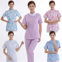 Medical Nursing Scrubs Uniform Woman Floral Printed Summer Hospital Dental Clinic Beauty Salon Work Wear Clothes Pants Set