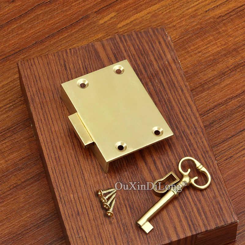 Классический ретро 10 шт. европейские антикварные латунные замки Ящиков Шкафа Шкаф скрытый шкаф дверные замки w Key