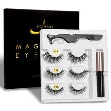 3 Pairs Magnetische Eyelashs set Wasserdichte Lange Dauerhafte Wimpern Verlängerung Magnetische Wimpern Set Einfach Zu Tragen Magnetische Falsche Wimpern