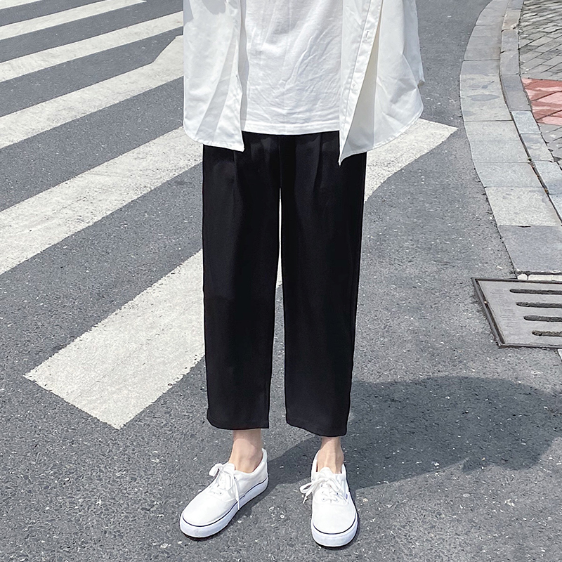 Summer Thin Black Casual Pants Men's Fashion Stretch Waist Straight Pants Men Streetwear Wild Loose Dress Pants Mens M-5XL