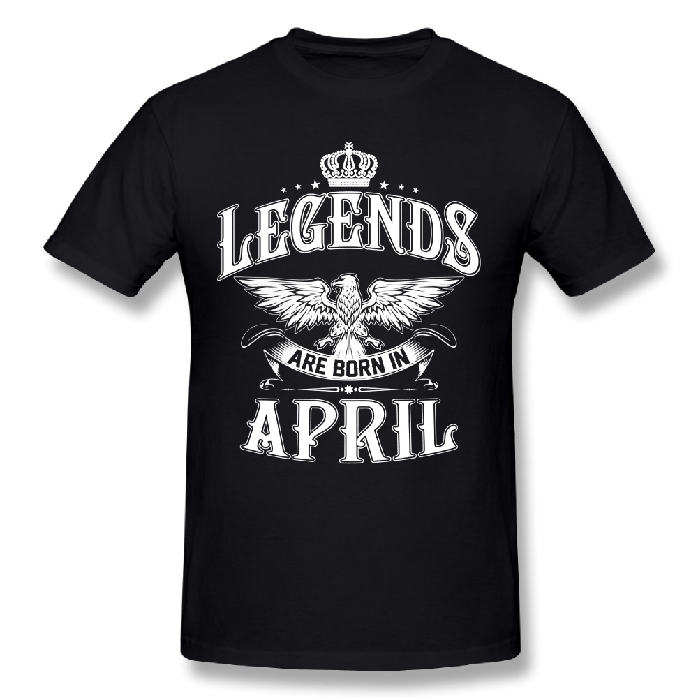 Funny Tee Shirt Legends Are Born In April Plain T Shirt Men's Cotton Short Sleeve T-Shirt Adult Birthday Present Tops Round Neck
