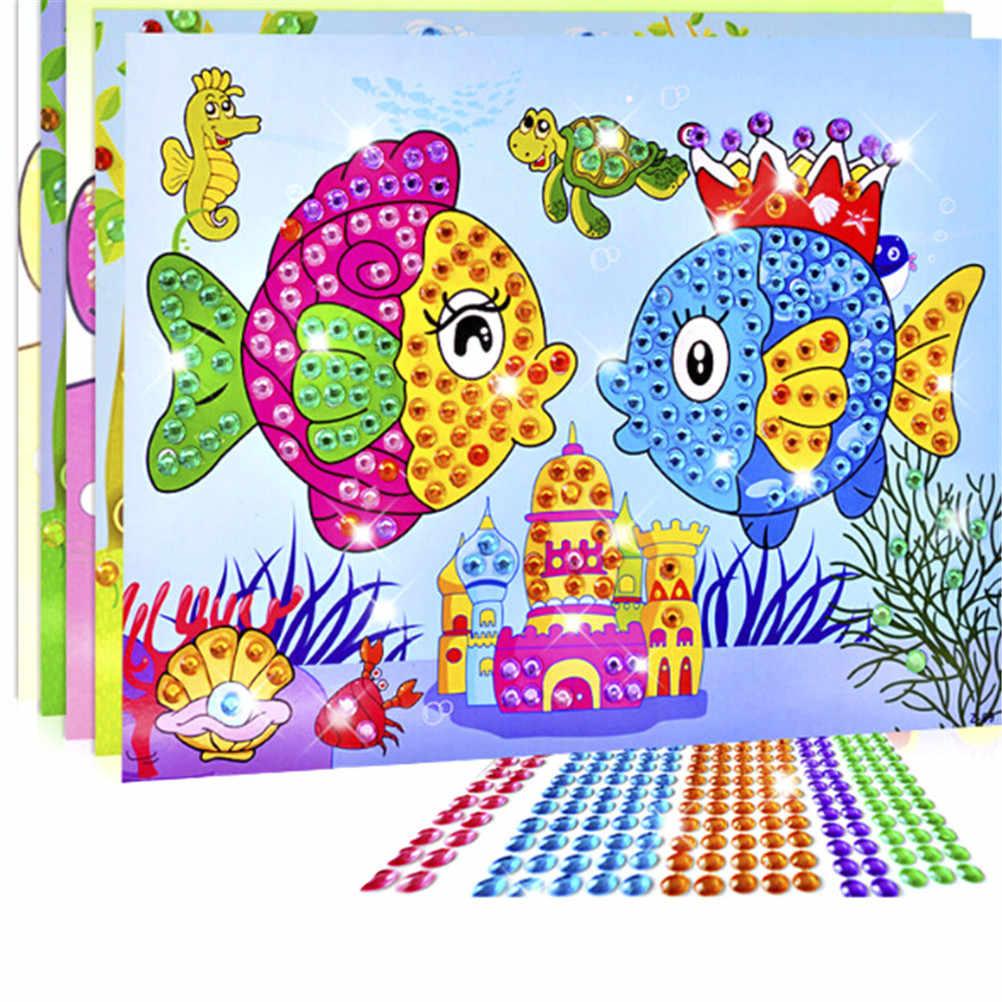 Colorato Cartone Animato 2 in 1 Diamante Colorazione Disegno Sticker Fatti a Mano Fai da Te Giocattolo Set di Pittura Education Regalo per I Bambini di Compleanno 1pc