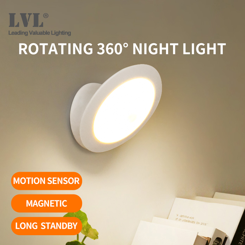 UFO Motion Sensor LED Night Light Rechargeable 360 Degree Rotating Security Wall Lamp For Bedroom Stair Cabinet Toilet Lights