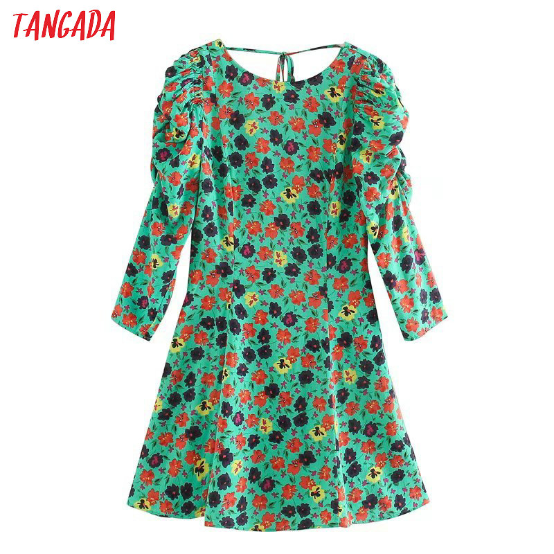 Tangada Women Flowers Print Green Mini Dress Backless Bow Puff Long Sleeve Ladies Vintage Short Dress Vestidos 5Z60