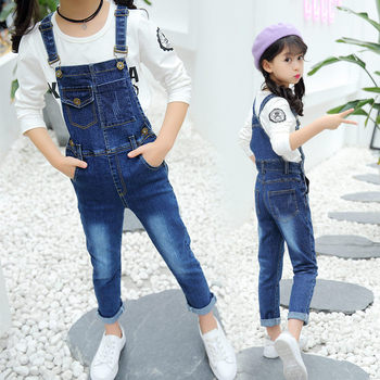 цена на Spring Autumn Kids Girl Suspender Jeans Bib Pants Children Denim Jumpsuit Overall Teenage Girls Casual Suspender Trousers 5-14T