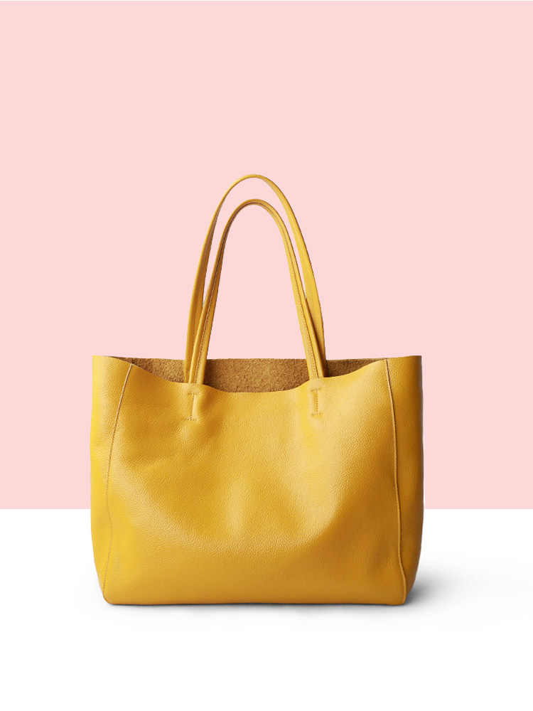 Shoulder Handbag Lemon Luxury Bag Casual Tote Cowhide Female Yellow Genuine-Leather Women