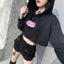 Harajuku punk fun print black hoodies gothic streetwear long