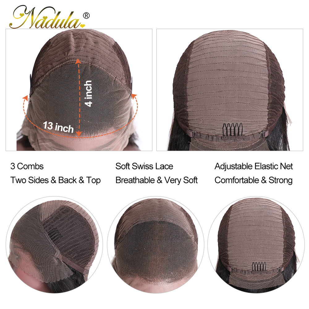 Nadula Hair Honey Blonde Brown Wig 13x4 HighLight Straight Hair Wig  100%  Wig 150%Density Piano Color 5
