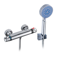 цена на Thermostatic Shower Sets Bathroom Rainfall Shower Faucet Set Wall Mounted Rainfall Mixer Tap With Hand Bathroom Shower System