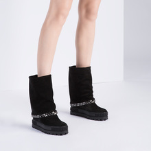 Ankle-Boot Platform Inner Suede Design Chain Wedge Black Woman Real Sole Photos Brand