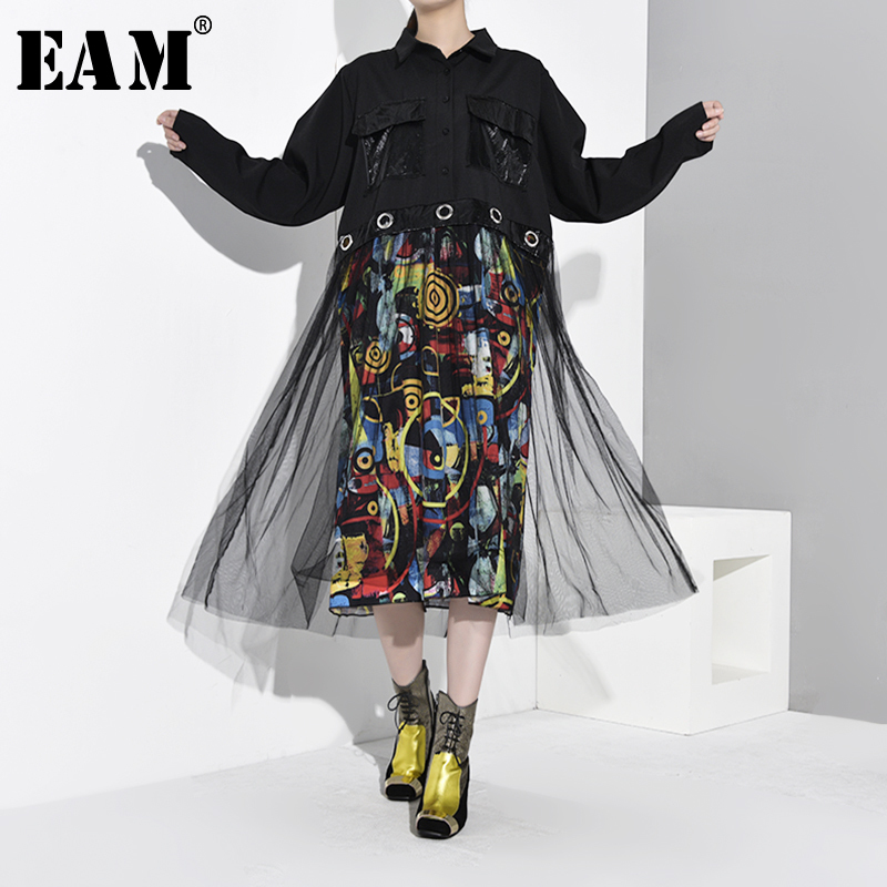 [EAM] Women Black Mesh Pattern Printed Big Size Dress New Lapel Long Sleeve Loose Fit Fashion Tide Spring Autumn 2020 1D976