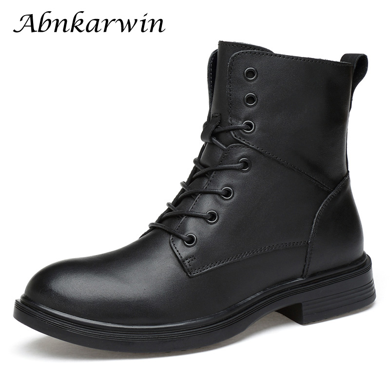 Winter Genuine Leather Black High Men Boots Mid-calf Botte Botas Hombre Cuero Dr Martins Bot Erkek Mens Boot Bottes Homme Cuir