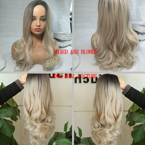 Image 4 - FAVE Mixed Black Ash Light Brown Blonde Synthetic Wig Body Wave MiddlePart Heat Resistant Fiber For Black Women Cosplay Long Wig