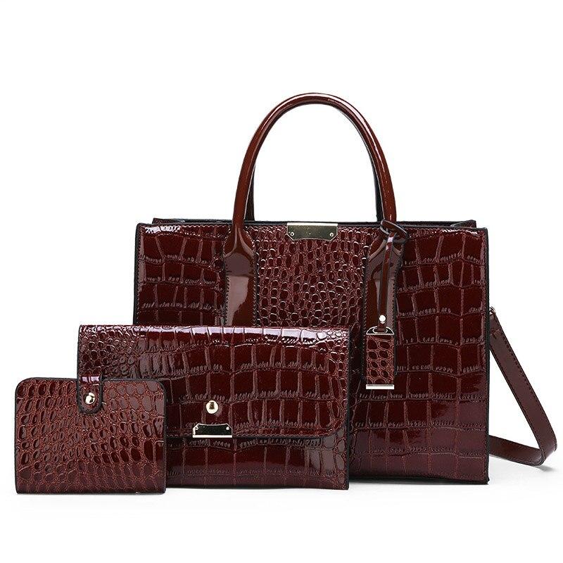 Women's Handbag  Fashion Design All-match Patent Leather Crocodile Pattern Shoulder Cross Body Bag Three-piece Set Newp