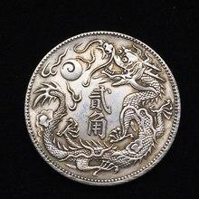 Mascote chinês dragão moeda voando dragão verdadeiramente ouro prata moeda moedas mágicas coleção de arte monedas feliz natal presente