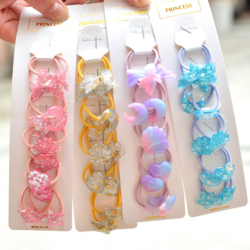 10PCS New Cartoon Cute Coloured Shell Princess Headwear Kids Elastic Hair Bands Children Ropes Girls Accessories Baby Headdress