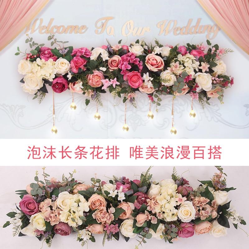 Artificial Flower Peony Rose Hydrangea Road Lead Flower Arrangement Wedding Props T Set Up Fake Flower Arch Floral Decoration
