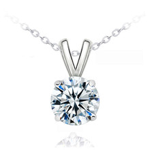 Luxury Female 3 CT Crystal Pendant Necklace Elegant Silver Color Wedding Necklace Charm Purple Zircon Long Necklace For Women elegant crystal zircon pendant necklace silver white red