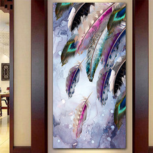 GOODECOR modern Colorful Feather Canvas Painting Cuadros Home Decor Wall Art on Prints Poster for Living Room