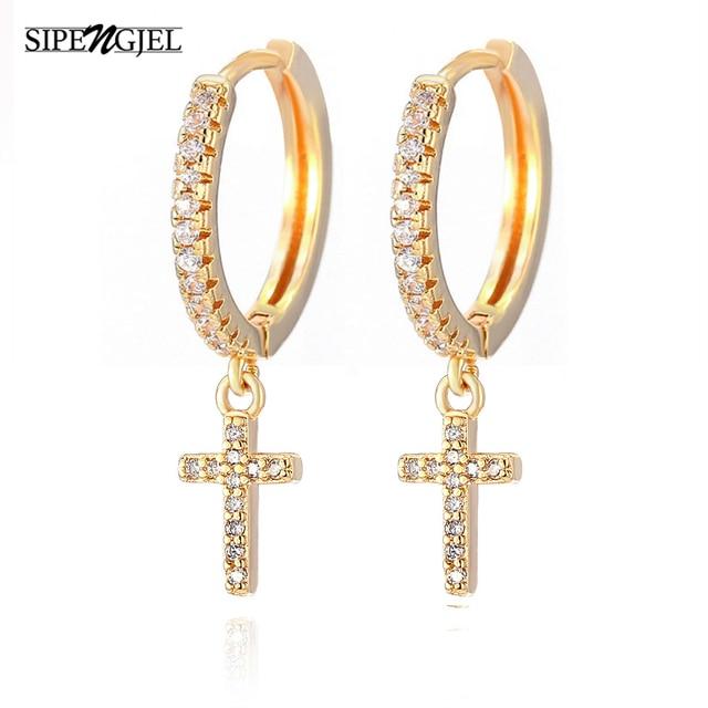 SIPENGJEL New Zircon Cross Pendant Hoop Earrings Punk Vintage Dangle Drop Earrings For Women Fashion Jewelry Gift 2021 1