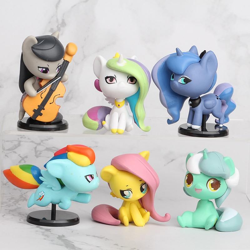 6pcs My Little Pony Unicorn Princess Luna Celestia Rainbow Horse Action Figures Toy Children Girl Birthday Christmas Gifts 1A01
