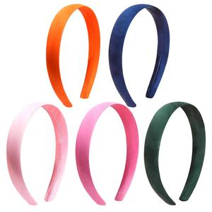 Image 4 - 33pcs 1.5cm 2cm Satin Headbands Colored Adult Kids Ribbon Hairband Women Covered Hair Band Multicolor Girl Headwear Accessories