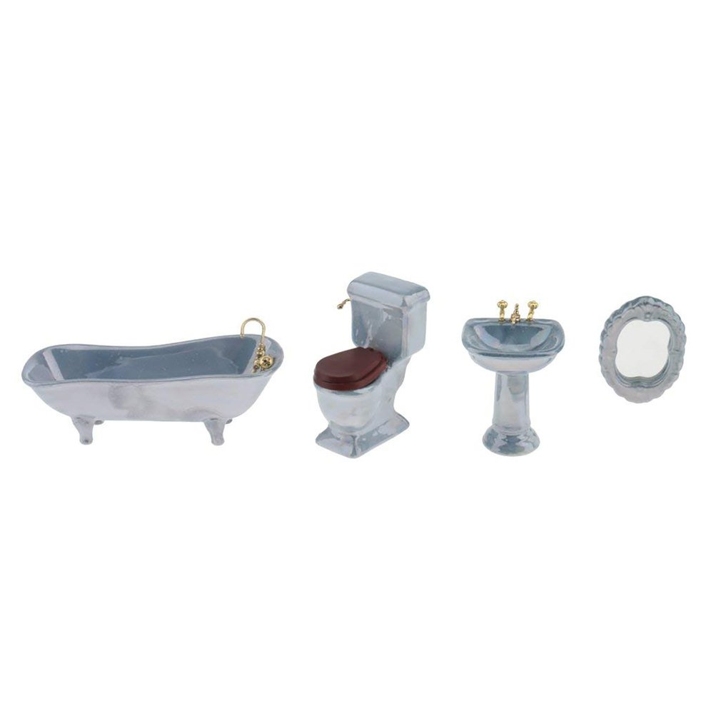 Mini Ceramic Bathroom Footed Bath Tub ToiletPedestal Sink & Mirror Set Blue