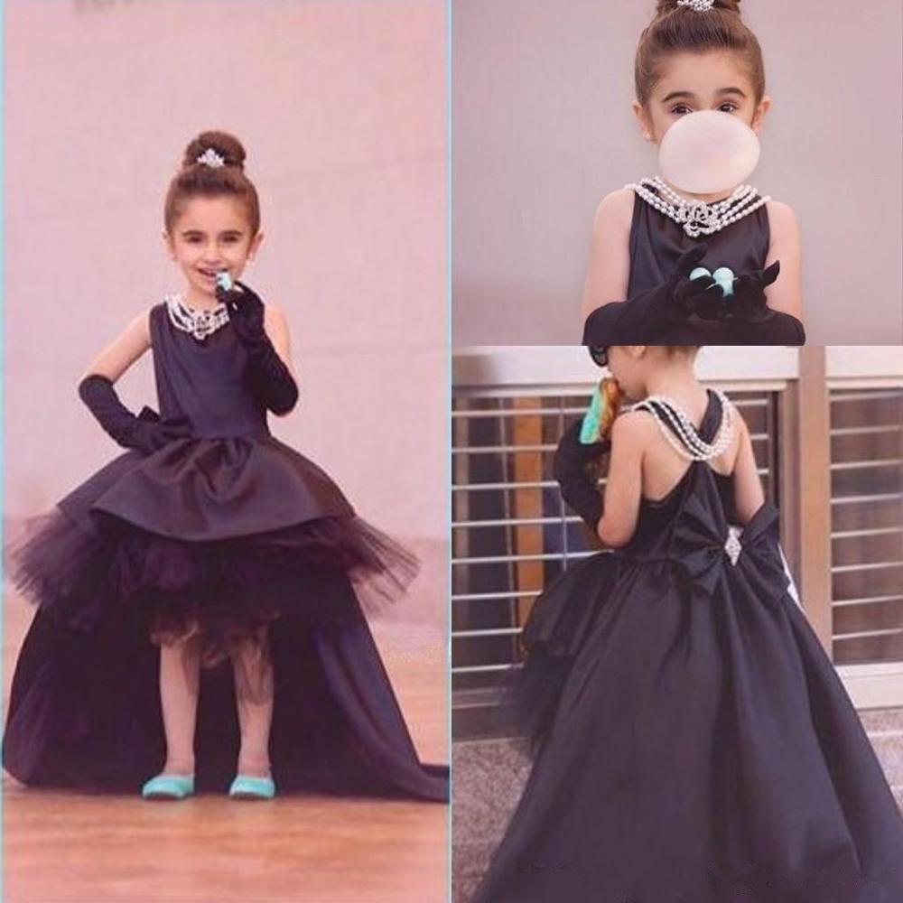 Formelle hi-lo enfants princesse robe robes de fille de fleur avec nœud pour la fête de mariage première Communion bébé Costume nouveau-né célébrité