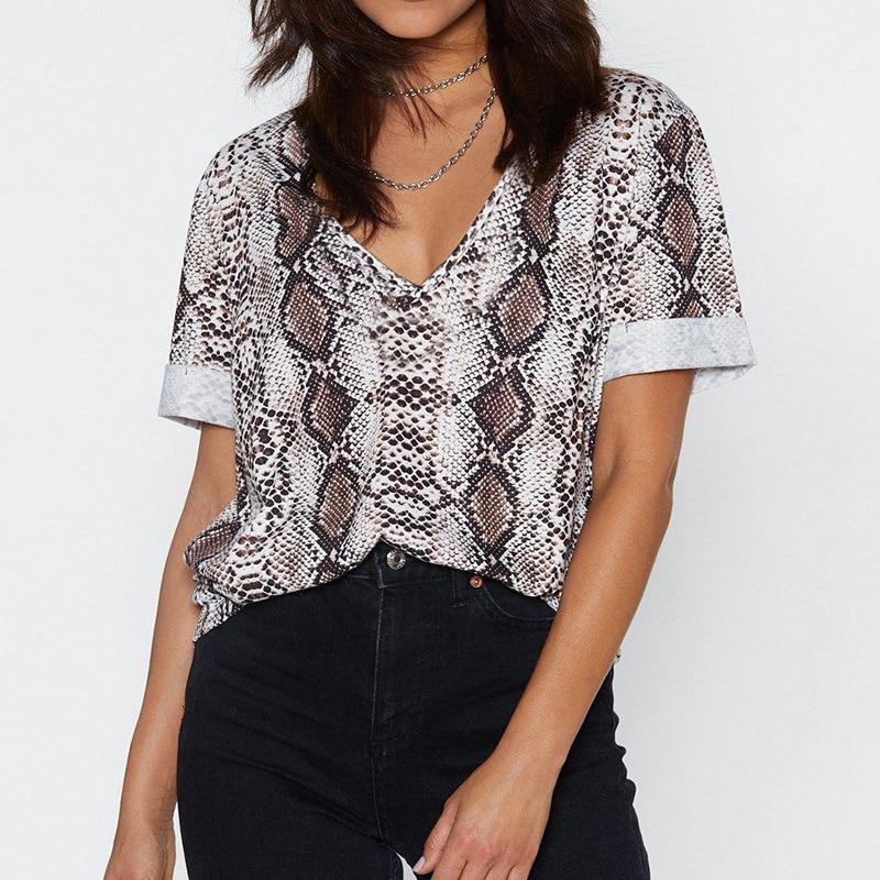 Women T Shirt 2020 Snake Print Top Tee Women Summer V-Neck Female Tops Short Sleeve Tees Casual Tshirt Cool Clothes Women Tees