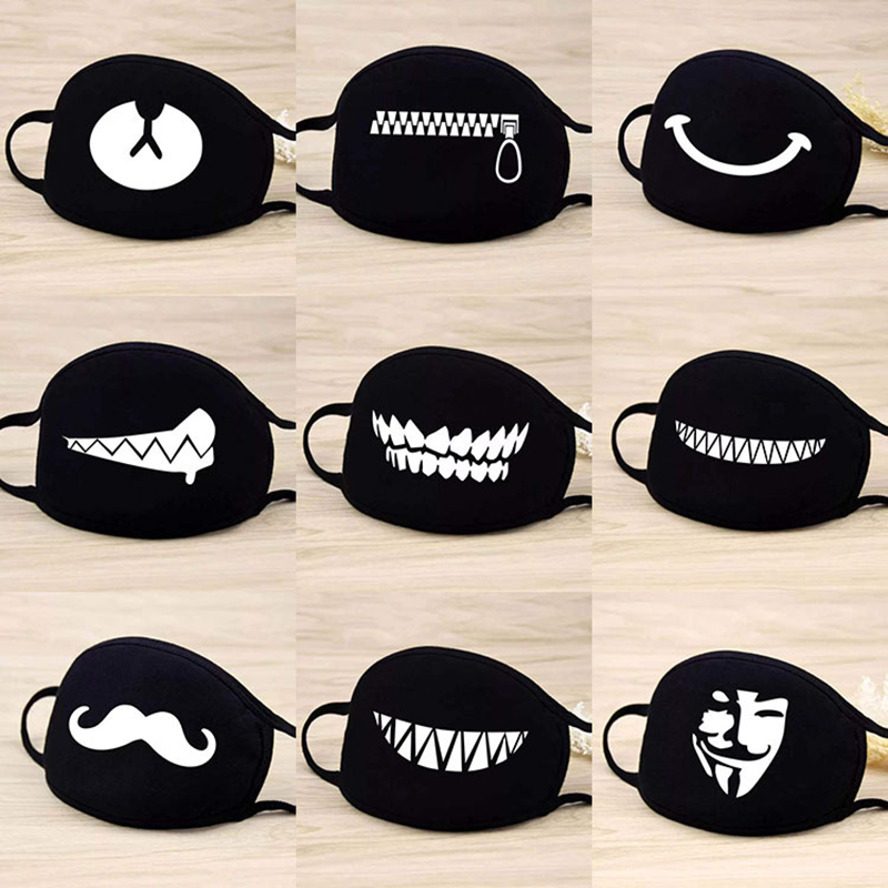 5PCS/Set Cotton Masks Dustproof Mouth Face Mask Anime Cartoon Bear Women Men Muffle Face Mouth Face Mask Funny Teeth Pattern