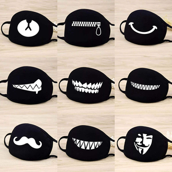 5PCS/Set Cotton Masks Dustproof Mouth Face Mask Anime Cartoon Bear Women Men Muffle Funny Teeth Pattern