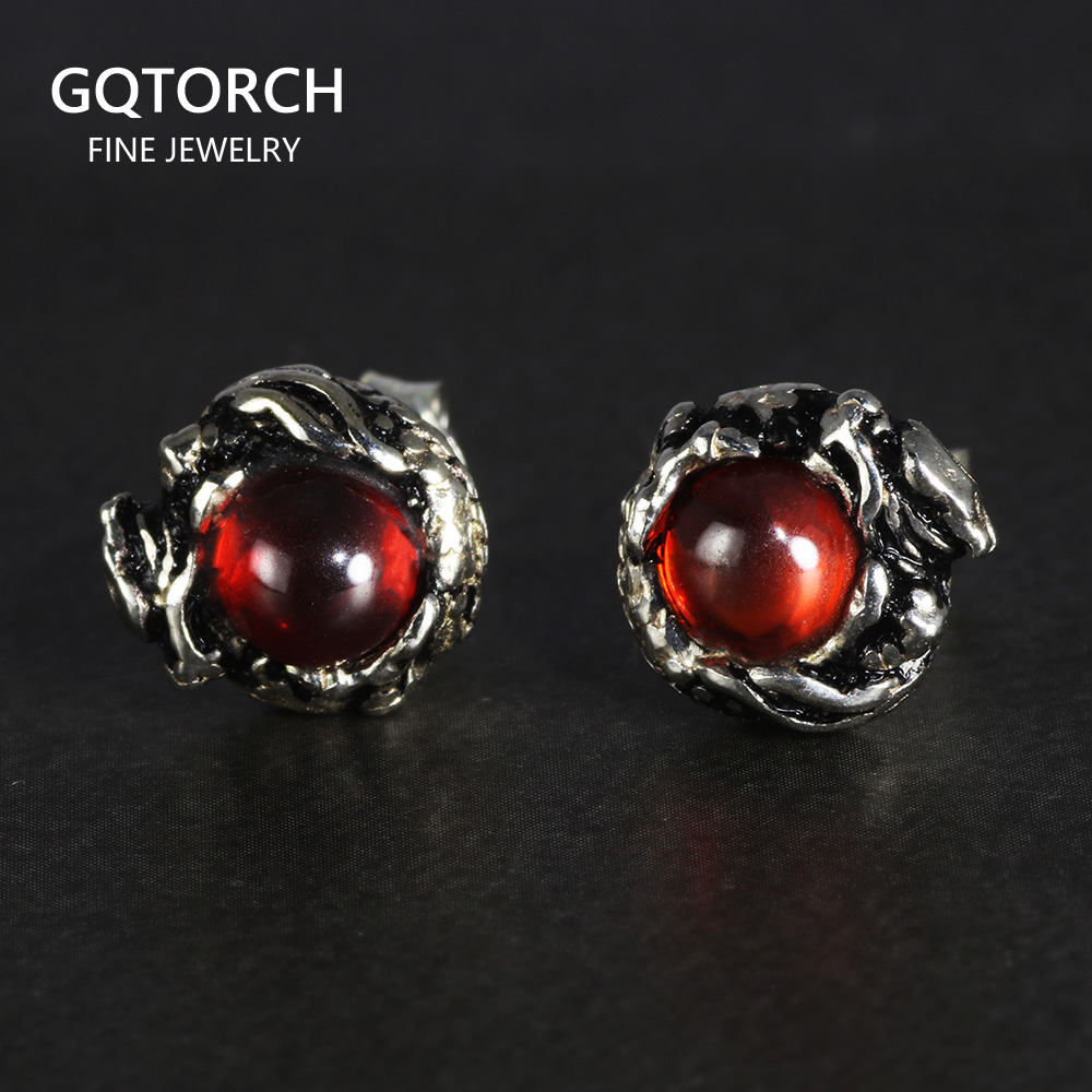 100% Pure 925 Sterling Silver Stud Earrings for Women Men Dragon Earrings Vintage Skeleton Gothic With Garnet Natural Stone