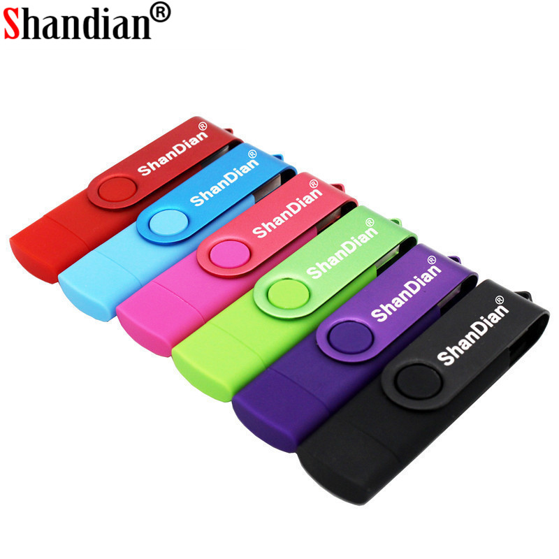 SHANDIAN Usb 2.0  OTG USB Flash Drive Smart Phone Tablet PC 4GB 8GB 16GB 32GB 64GB Pendrives OTG Real Capacity Usb Stick