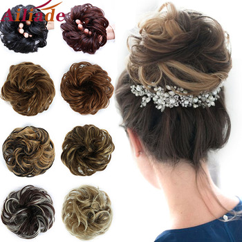 AILIADA Brown Heat Resistant Chignon Elastic rubber band Hair Bun Hairpiece Curly Scrunchie Extensions Wigs For Women - discount item  35% OFF Synthetic Hair