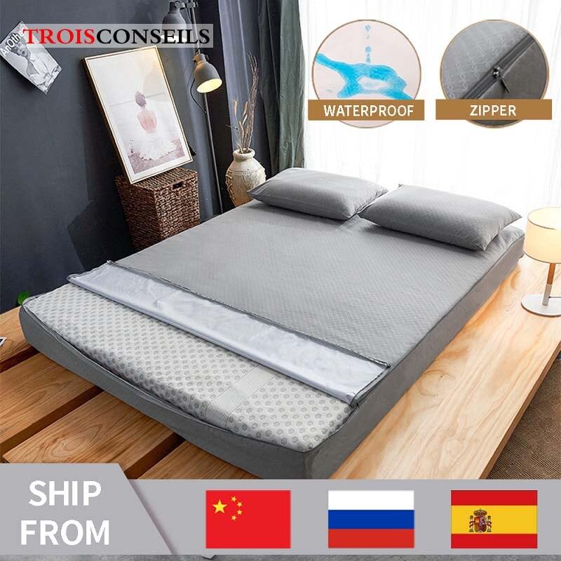 Nuovo coprimaterasso impermeabile per coprimaterasso completamente chiuso per letto coprimaterasso antiacaro con cerniera