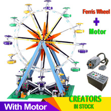 With motor City Ferris Wheel Creator streetview Model Building Blocks Bricks Toy Gifts for Girl Boy fit Expert 10247