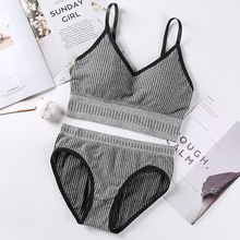 Fashion Women Bra Set Sexy Lingerie Seamless Sports Underwear Knitting Active With Pad