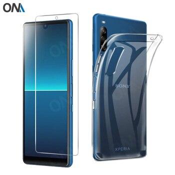 Перейти на Алиэкспресс и купить Закаленное стекло 2 в 1 + чехол для sony Xperia L4 L3, силиконовый чехол для sony Xperia 1 10 Plus, защита экрана