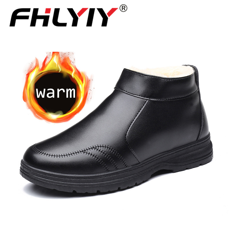 Fhlyiy Brand Zipper Warm Leather Ankle  Shoes Men Snow Boots Autumn Winter Fur Plush Classic Male Boots Slip-On Shoes Size 39-44