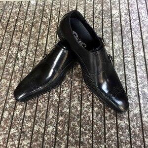 Image 5 - FELIX CHU wysokiej jakości oryginalne skórzane męskie buty wizytowe Party szpiczasty nosek szykowny ślub bordowy czarny mnich sukienka na ramiączkach buty