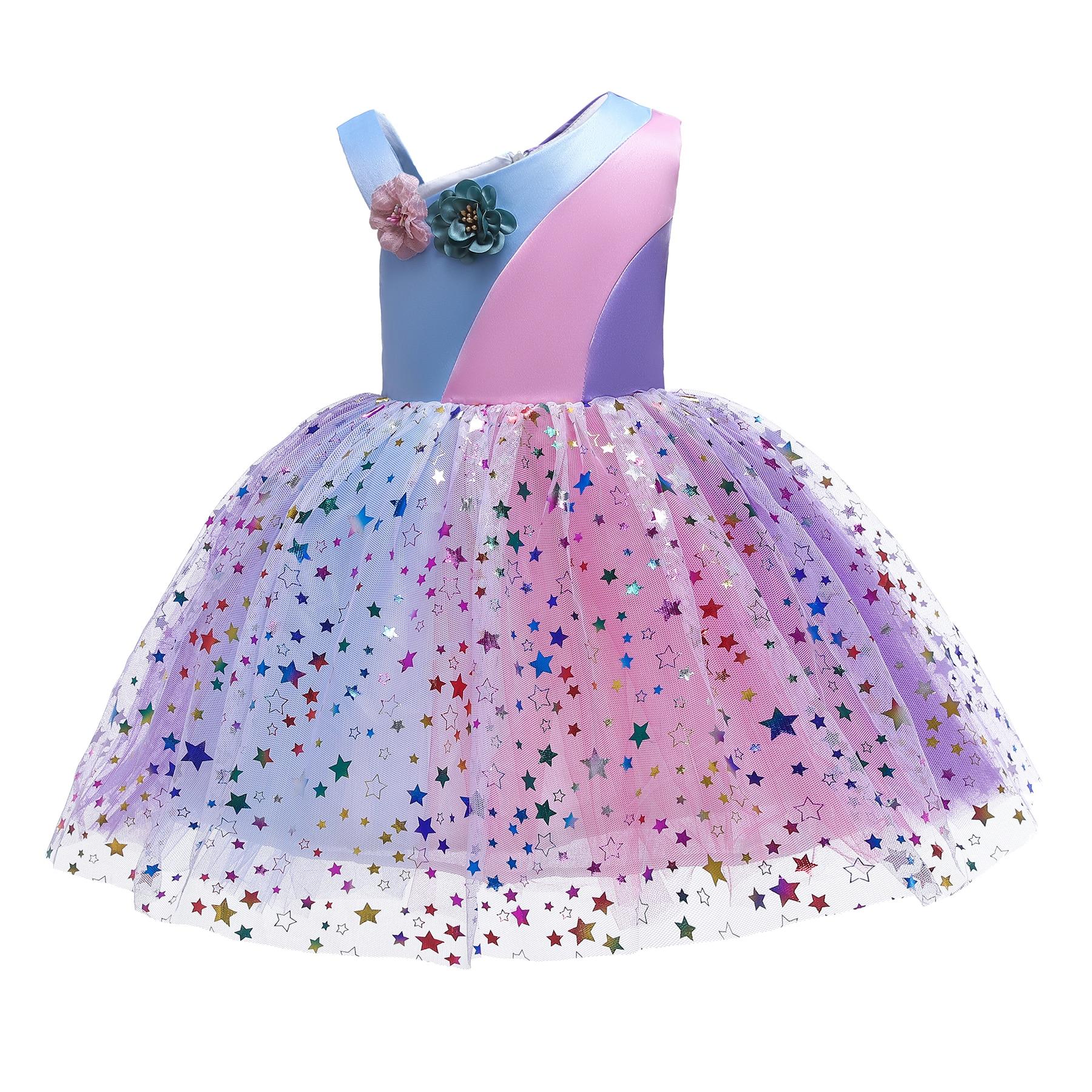 Girls Flower Dress Rainbow Patchwork Mesh Princess Halloween Party Kids Tutu Dresses