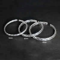 Heavy solid 999 pure silver twisted bangles mens sterling silver bracelet vintage punk rock style armband man cuff bangle