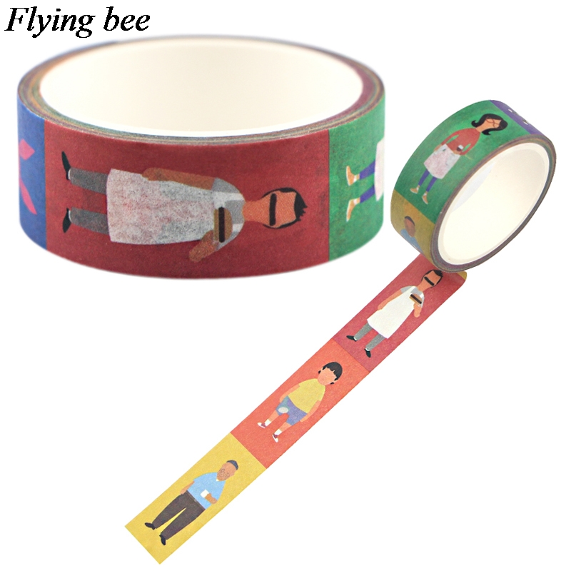 Flyingbee 15mmX5m Creative Theme  Cute Washi Tape Paper DIY Decorative Adhesive Tape Stationery Masking Tapes Supplies X0746