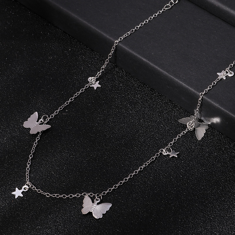 Small Animal Butterfly Stars Chain Necklaces for Women Hot Sale Gold Silver Color Clavicle Chain Necklaces Jewelry Accessories