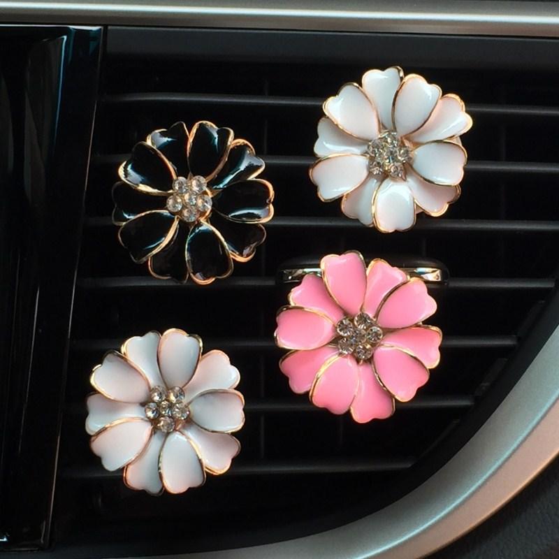 Rhinestone Daisy Flower Vent Clip Car Scent Smell Car Fragrance Air Freshener In Auto Interior Decor Car Accessories For Girls