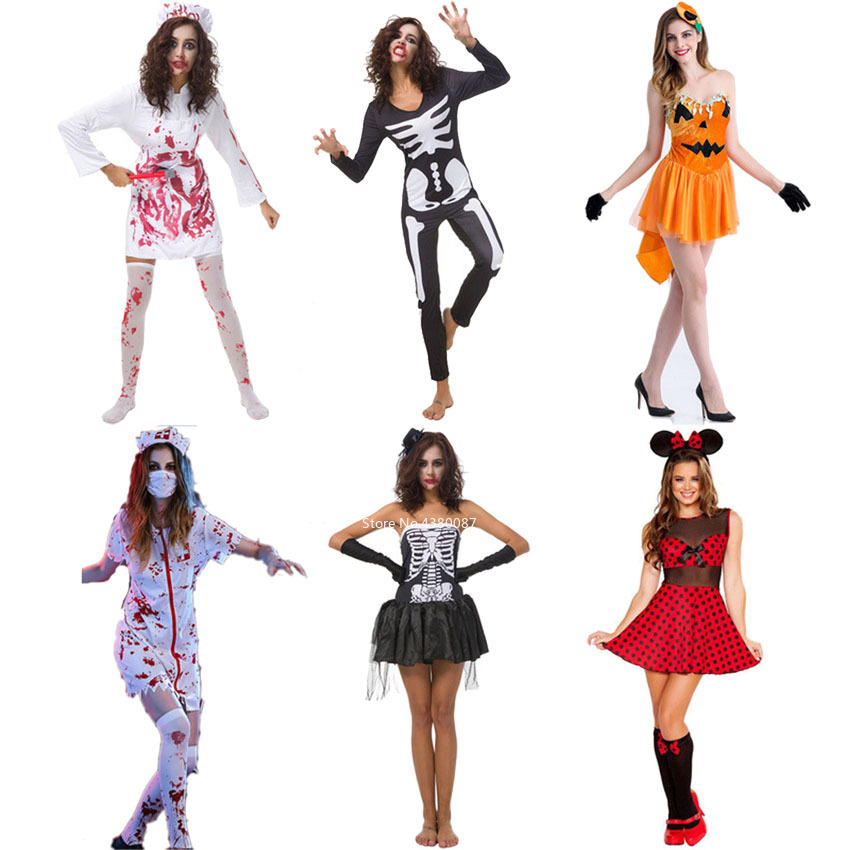 Skeleton Zombie Scary Cosplay Costumes for Women <font><b>Halloween</b></font> Carnival Gothic Bloody Bridal <font><b>Dress</b></font> Jumpsuit <font><b>Sexy</b></font> Horror Clothing image