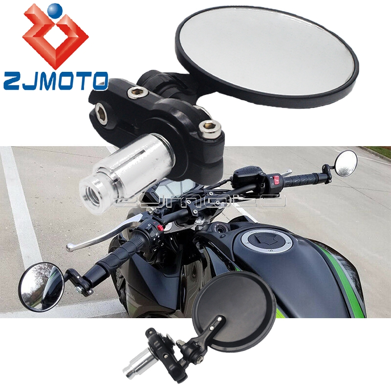Round <font><b>3</b></font> inch Folding Mirrors <font><b>7</b></font>/8'' 22mm Handle Bar End/Under Rearview Side Mirror Universal For Harley Chopper Bobber Cafe Racer image