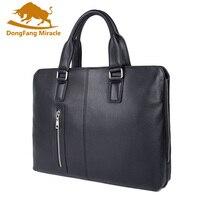 New Designer Brand Genuine Cow Leather Men's Briefcase Fashion Solid Color Zipper Mens Shoulder Bag Business Laptop Bag