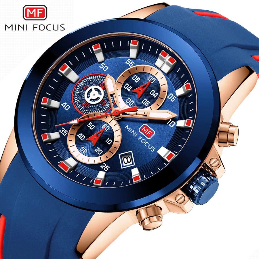 MINIFOCUS Chronograph Mens Watches Brand Luxury Casual Sport Date Quartz Silicone Wristwatches Waterproof Men's Wrist Watch Man