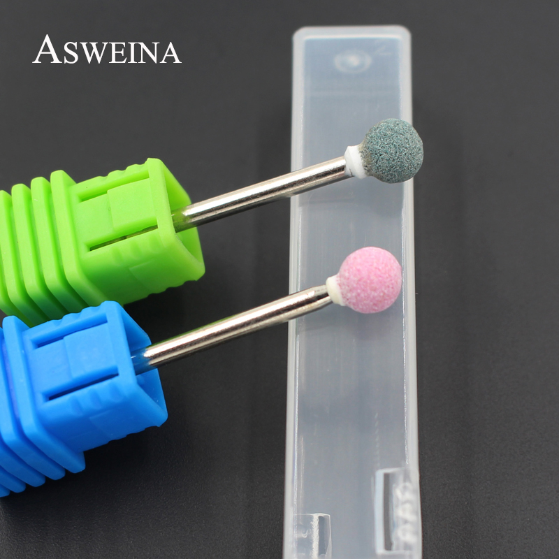 ASWEINA 1pcs Spherical Ceramic Stone Burr Nail Drill Bit 3/32